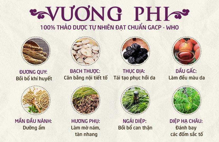 Vương Phi được bào chế từ 100% thảo dược quý tự nhiên