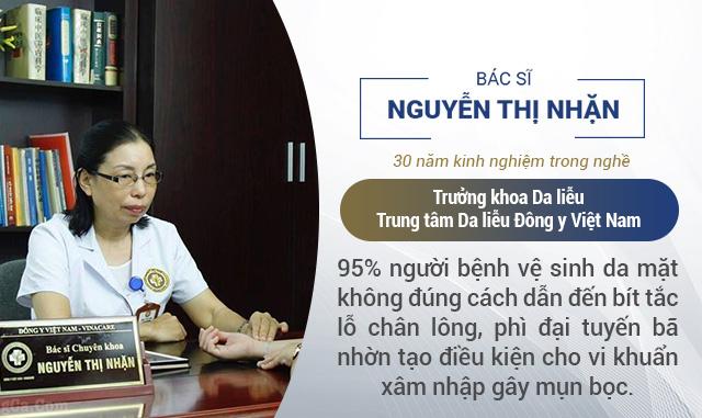 Bác sĩ Nguyễn Thị Nhặn chỉ ra nguyên nhân phổ biến nhất gây mụn bọc