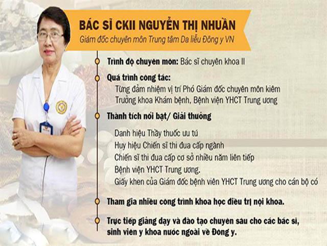 Bác sĩ Nguyễn Thị Nhuần là một chuyên gia trong lĩnh vực điều trị bệnh Da liễu bằng YHCT