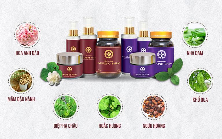 Bộ sản phẩm Nám da Tàn nhang Vương Phi là sự kết hợp của nhiều loại thảo dược Đông y