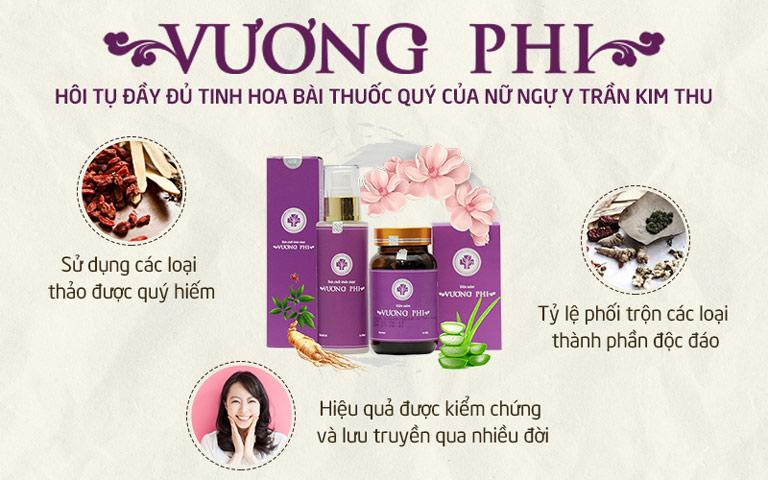 Bộ sản phẩm Nám da Tàn nhang Vương Phi được bào chế từ nhiều loại thảo dược tự nhiên quý hiếm