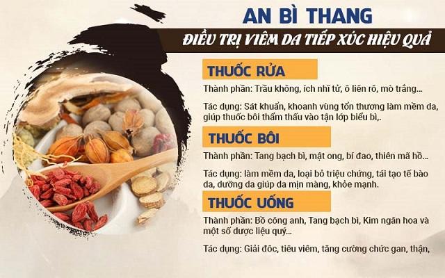 Thành phần, công dụng bài thuốc An Bì Thang xử lý viêm da tiếp xúc với 3 chế phẩm thuốc bôi, thuốc uống và thuốc rửa
