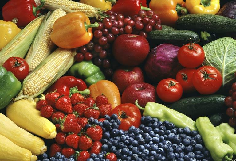 Các loại rau xanh, trái cây
