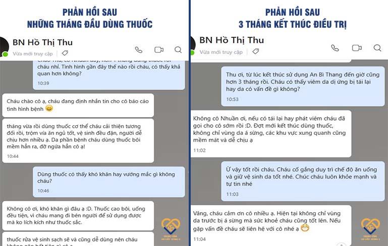 Bệnh nhân Hồ Thị Thu trao đổi tình hình sau khi sử dụng bài thuốc An Bì Thang với bác sĩ Nhuần