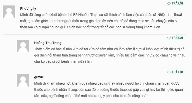 Người bệnh đã từng thăm khám đưa ra nhận xét về bác sĩ Nguyễn Thị Nhuần