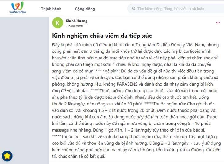 Tài khoản Khánh Hương chia sẻ kinh nghiệm chữa viêm da tiếp xúc tại Trung tâm Da liễu Đông y Việt Nam trên diễn đàn Webtretho
