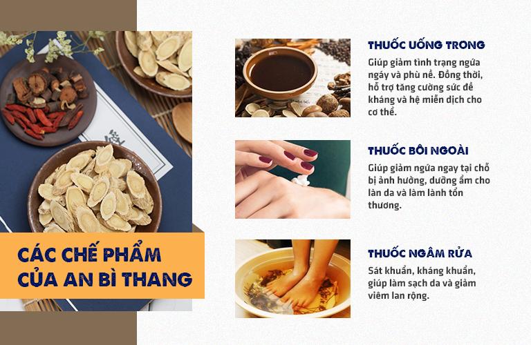 An Bì Thang gồm 3 chế phẩm kết hợp điều trị các bệnh viêm da