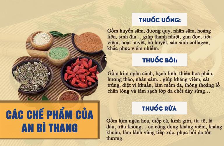 3 chế phẩm gồm thuốc uống, bôi, ngâm rửa của An Bì Thang trị viêm nang lông