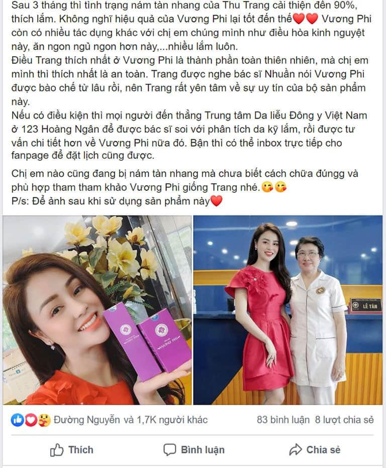 Diễn viên Lương Thu Trang chia sẻ về bí quyết trị nám của bản thân trên trang cá nhân