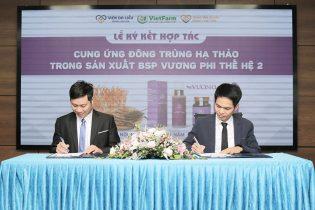 Ông Nguyễn Quang Tân và ông Nhâm Quang Đoài có mặt trong buổi ký kết hợp tác cung ứng Đông Trung Hạ Thảo