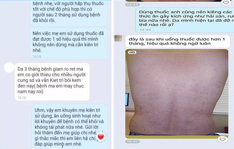 Bệnh nhân phản hồi về tiến triển của bệnh sau 1 tháng sử dụng An Bì Thang