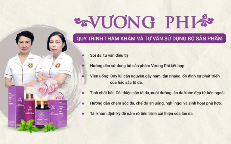 Quy trình thăm khám và tư vấn sử dụng bộ sản phẩm Nám da, tàn nhang Vương Phi