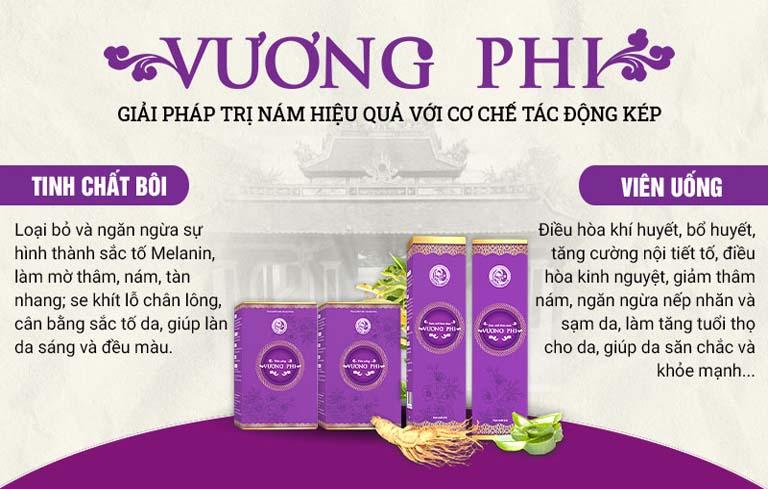 Bộ sản phẩm Vương Phi với 2 chế phẩm bôi và uống mang lại tác dụng kép và hiệu quả tối ưu