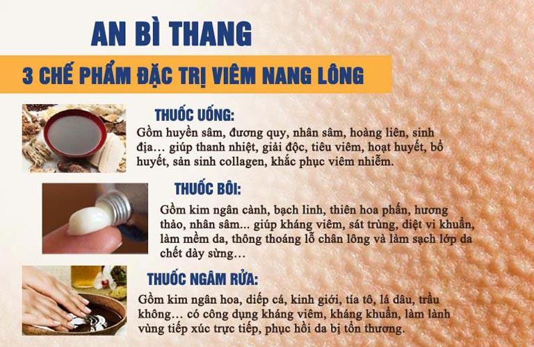 Các chế phẩm chính trong bài thuốc An Bì Thang chữa viêm nang lông