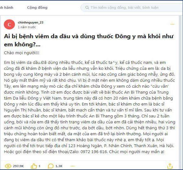 Sau khi kết thúc 3 tháng dùng An Bì Thang thì tình trạng bệnh của bạn chinhnguyen_23 cũng khỏi
