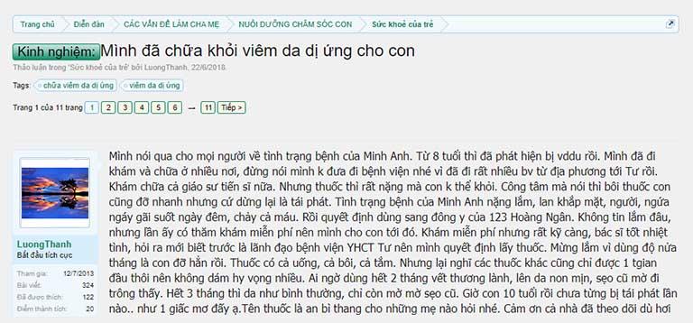 Phản hồi của tài khoản LuongThanh trên Diễn đàn Làm Cha Mẹ