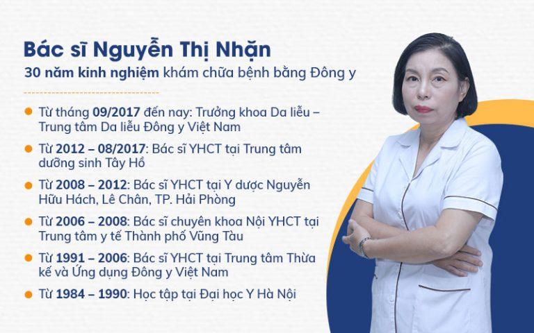Bác sĩ Nguyễn Thị Nhặn - Trưởng khoa Da liễu, Trung tâm Da liễu Đông y Việt Nam