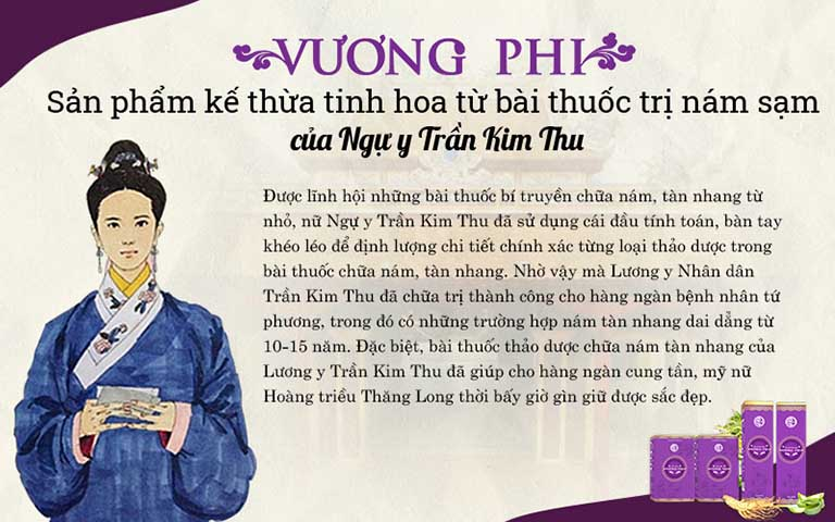 Bộ sản phẩm Vương Phi được kế thừa tinh hoa YHCT từ phương pháp của nữ Ngự y Trần Kim Thu